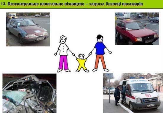 Слайд 13. Безконтрольне нелегальне візництво — загроза безпеці пасажирів